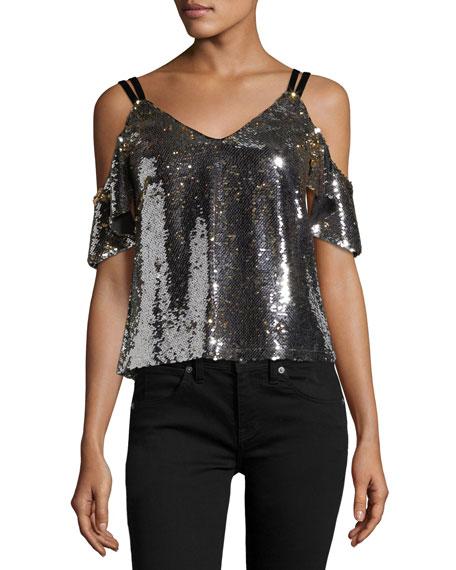 6353ed6b71c50 Nanette Lepore Cold-Shoulder Sparkle Sequin Top