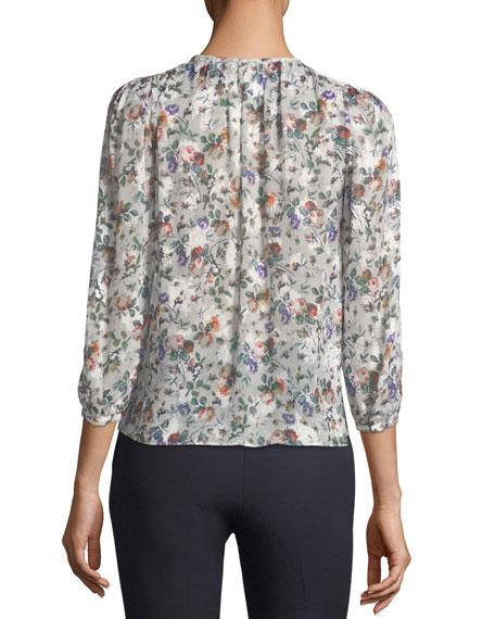 Long-Sleeve Floral-Print Silk Top