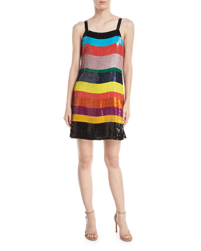 Bridget Striped Sequin Slip Dress
