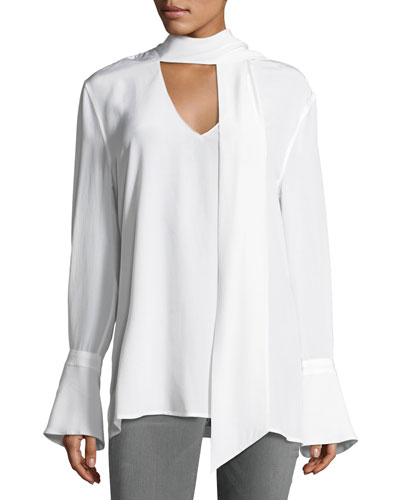 Jacqueleen French-Cuff Tie-Neck Silk Blouse