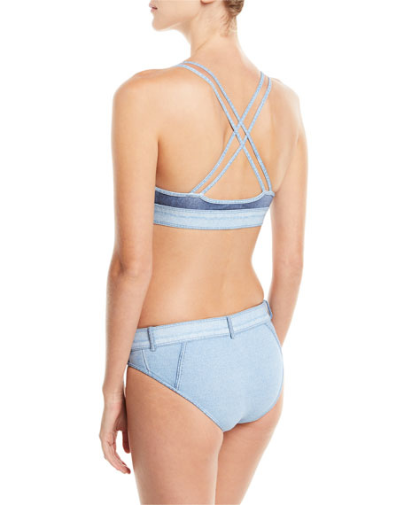 Denim Buckle Swim Bikini Bottoms