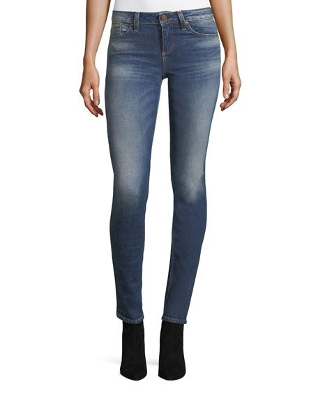 Mid-Rise Skinny-Leg Jeans with Studded Trim