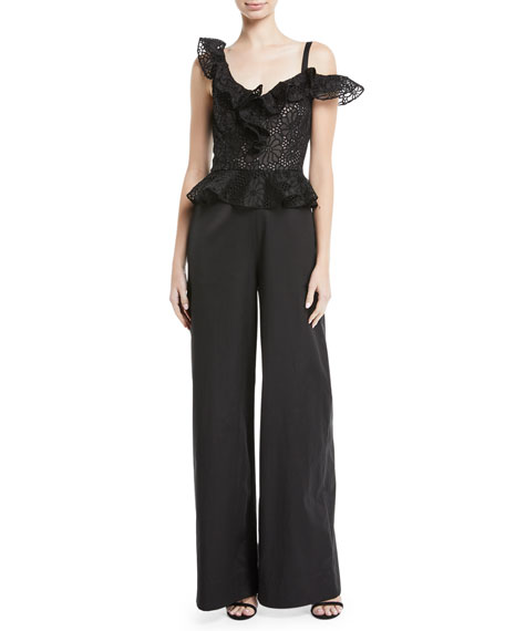 Malorie Embroidered Lace Peplum Jumpsuit