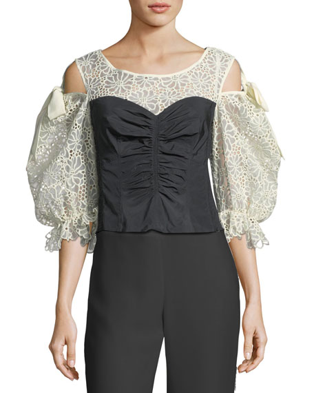 Malorie Pouf-Sleeve Corset Top with Lace