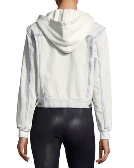 Chloe Cropped Denim Jacket with Hood