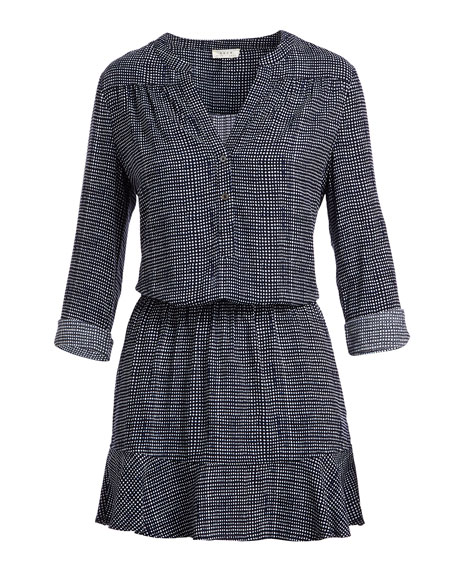 Acey Button-Front Long-Sleeve Printed Dress
