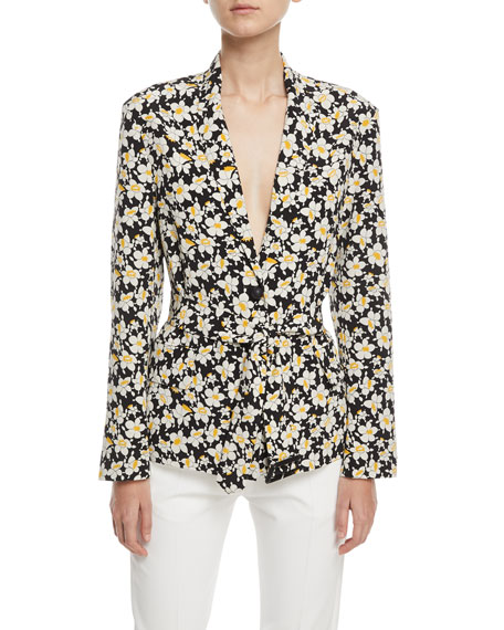 Image 1 of 1: Alex Daffodil-Print Belted Silk Jacket