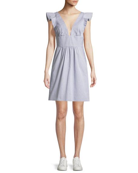 Mel Seersucker V-Neck Mini Dress
