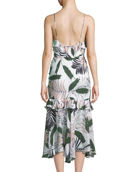 Tropic-Print Sleeveless Petal Midi Dress