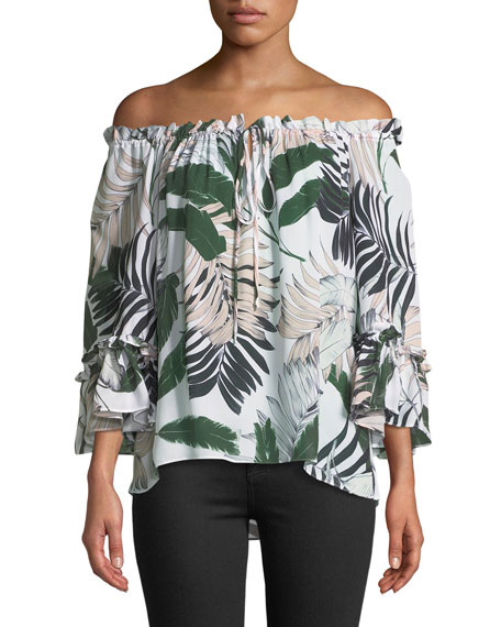 Ruffled Tropical-Print Silk Top