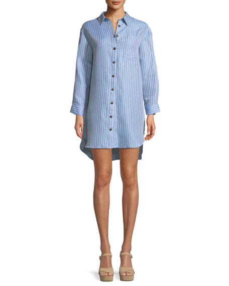 Bennett Button-Front Striped Coverup Shirt