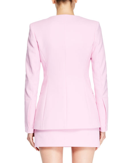 Round-Neck Button-Front Tailored Jacket