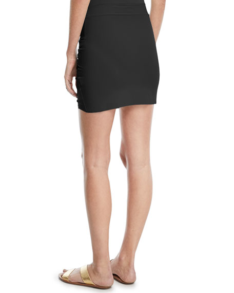 Ebby Fitted Ruched Mini Skirt Coverup