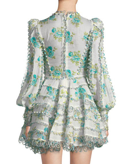 Breeze Honeymooners Plunging Embroidered Flared Cocktail Dress