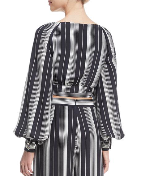 Breeze Long-Sleeve Striped Silk Wrap Blouse