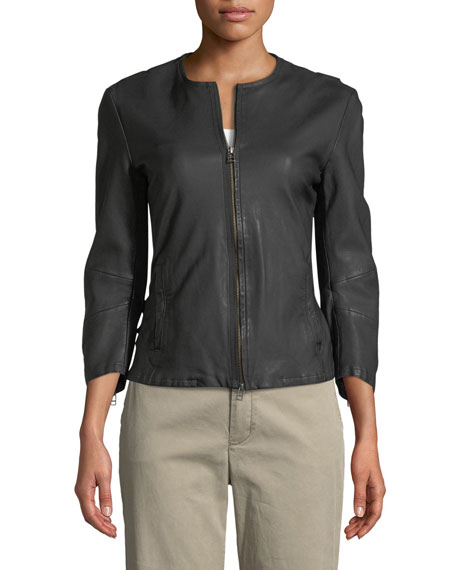 Collarless Leather Moto Jacket