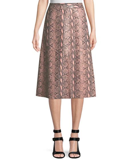 Romi Snake-Print Leather Midi Skirt