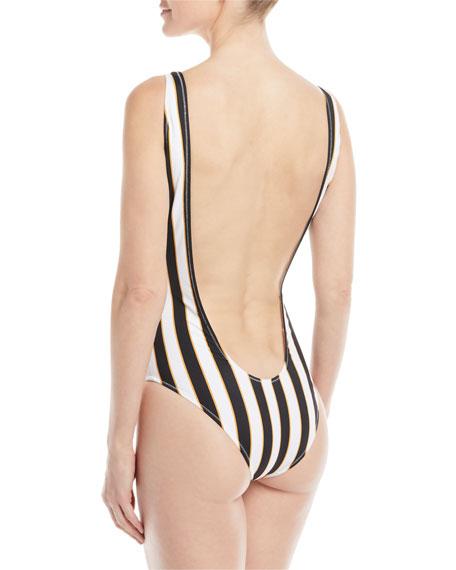 Aristi Scoop-Neck Striped One-Piece Swimsuit