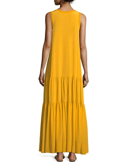 Hazel Scoop-Neck Sleeveless Silk Tank Dress