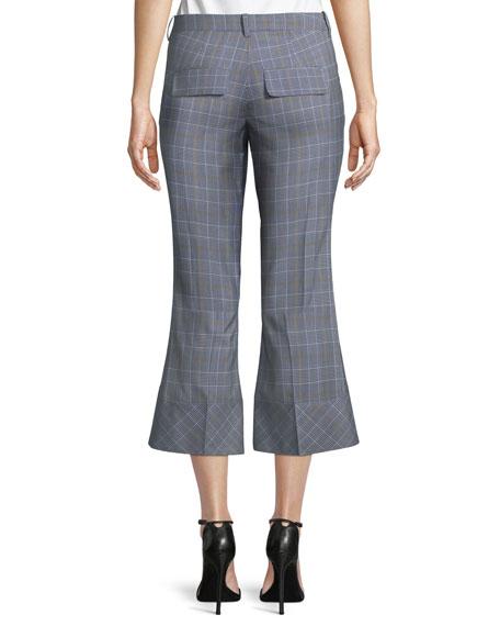 Plaid Crop Flare-Hem Trousers