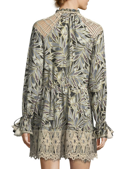 Persia V-Neck Long-Sleeve Palm-Print Dress