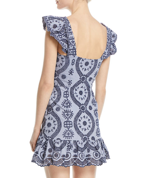 Alanis V-Neck Sleeveless Eyelet Mini Dress