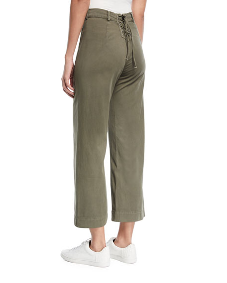 Finley High-Waist Wide-Leg Cropped Pants