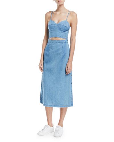Peek-A-Boo Corset A-Line Denim Dress
