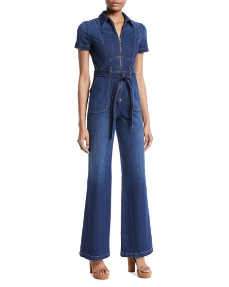 Image 1 of 1: Gorgeous Wide-Leg Fitted Denim Jumpsuit