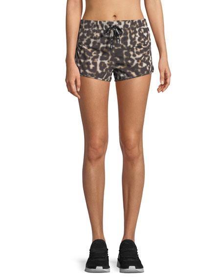 Leopard-Print Drawstring Running Shorts