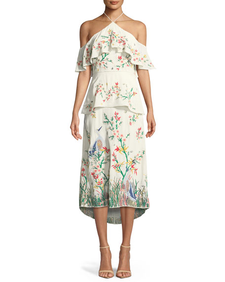 Golda Halter Embroidered Tiered Cocktail Dress