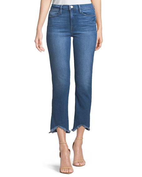 Le High Straight-Leg Jeans w/ Raw-Edge Triangle Hem