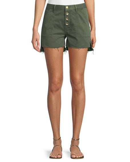 Harmony Button-Front Twill Cutoff Shorts