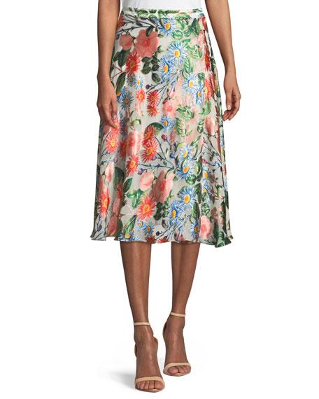 Nanette Mock-Wrap Floral-Print Midi Skirt