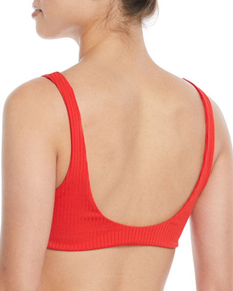 Rio Tie-Front Ribbed Swim Top - Red