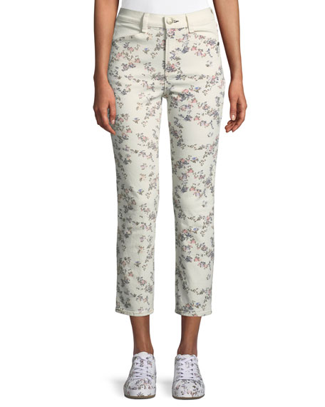 Image 1 of 1: Ellie Floral Cropped Straight-Leg Jeans