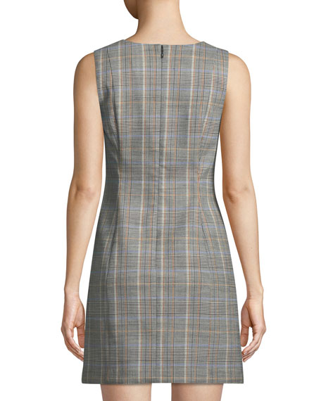 Easy V-Neck Plaid Shift Dress
