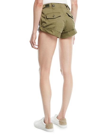 Hikie Mix Hybrid Denim & Twill Low-Rise Shorts