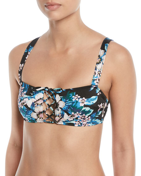 Image 1 of 1: Lace-Up Floral-Print Cami Swim Top