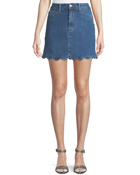 Image 1 of 1: Bella Scalloped Denim Mini Skirt