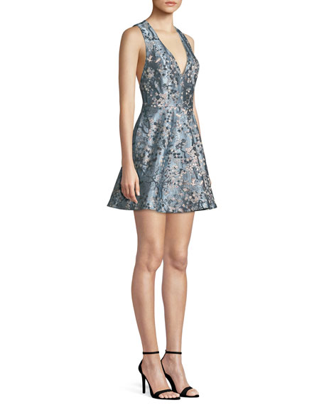 Tennie Floral Embroidered Mini Party Dress