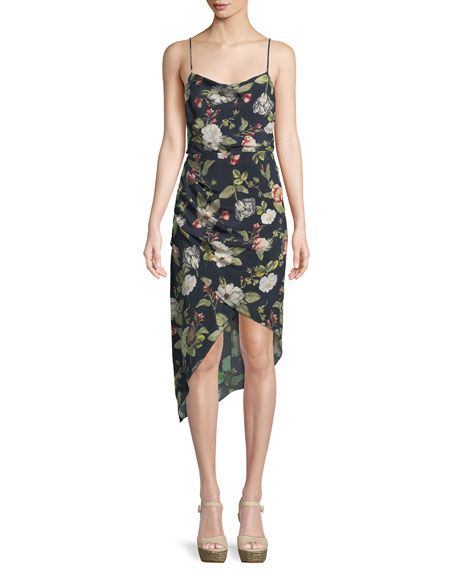 Image 1 of 1: Reena Draped Floral Open-Back Dress