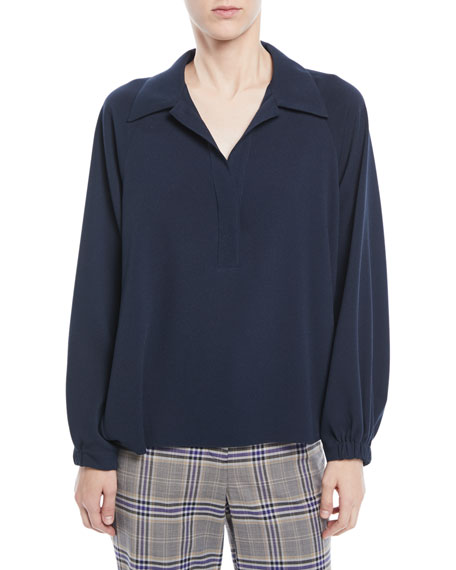 Savanna Collared Easy-Fit Crepe Polo Top