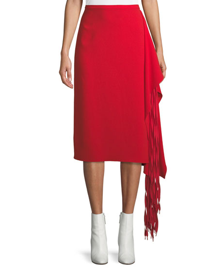 A-Line Crepe Midi Skirt w/ Fringe Drape
