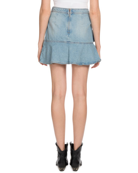 Coati Ruffle Denim Mini Skirt