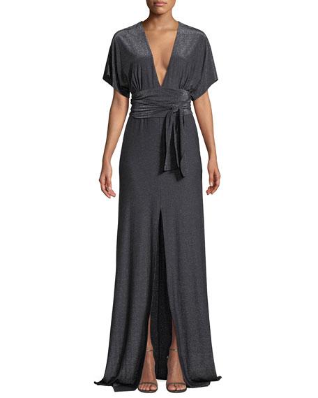 Metallic Jersey Kimono Gown