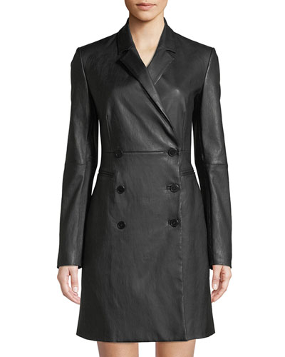 Double-Breasted Bristol Leather Blazer Dress