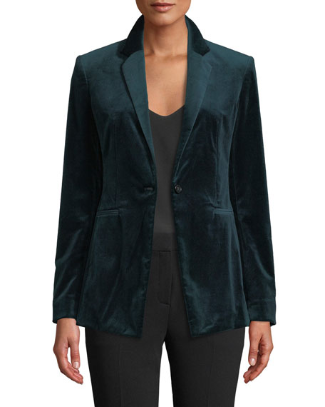 Power Velvet One-Button Blazer Jacket