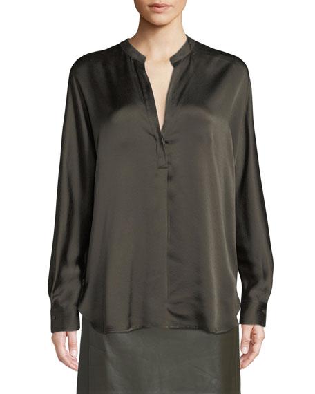 Split-Neck Long-Sleeve Silk Satin Blouse