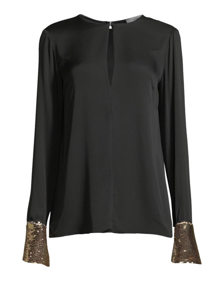Mara Stretch-Silk Top w/ Sequin Cuffs
